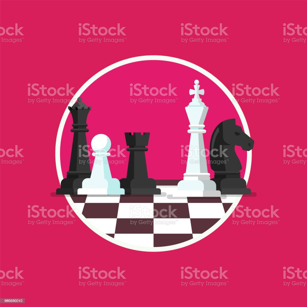 Business strategy with chess figures on a chess board vector art illustration