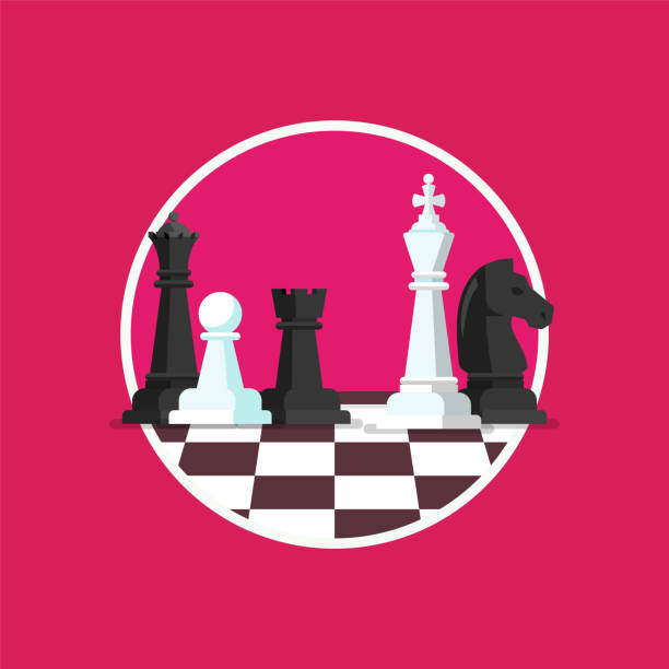 ilustrações de stock, clip art, desenhos animados e ícones de business strategy with chess figures on a chess board - xadrez