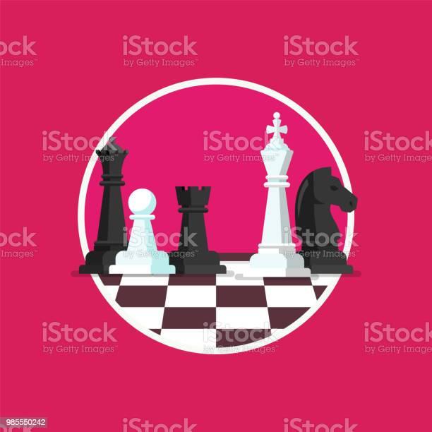 Business Strategy With Chess Figures On A Chess Board - Arte vetorial de stock e mais imagens de Aspiração