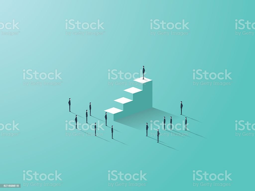 Business success concept with businessman standing on top of stairs vector art illustration