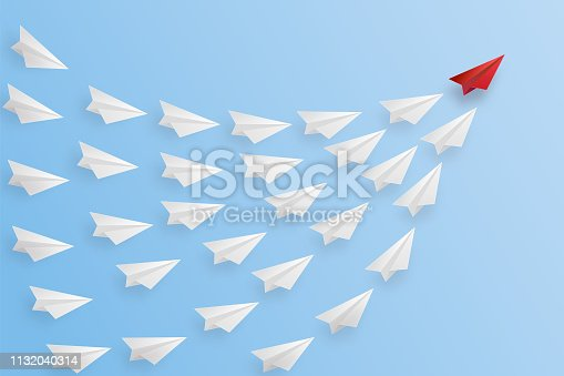 Business success design of Leadership concept of paper airplane as target concept. vector illustration