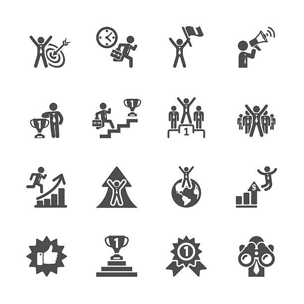 stockillustraties, clipart, cartoons en iconen met business success icon set, vector eps10 - orthografisch symbool