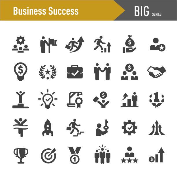 ilustrações, clipart, desenhos animados e ícones de ícones do sucesso do negócio-série grande - entrepreneurship