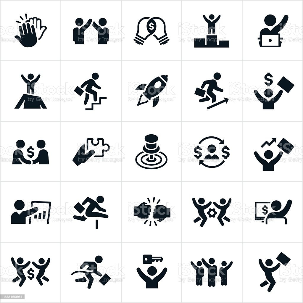 Business Success Icons vector art illustration