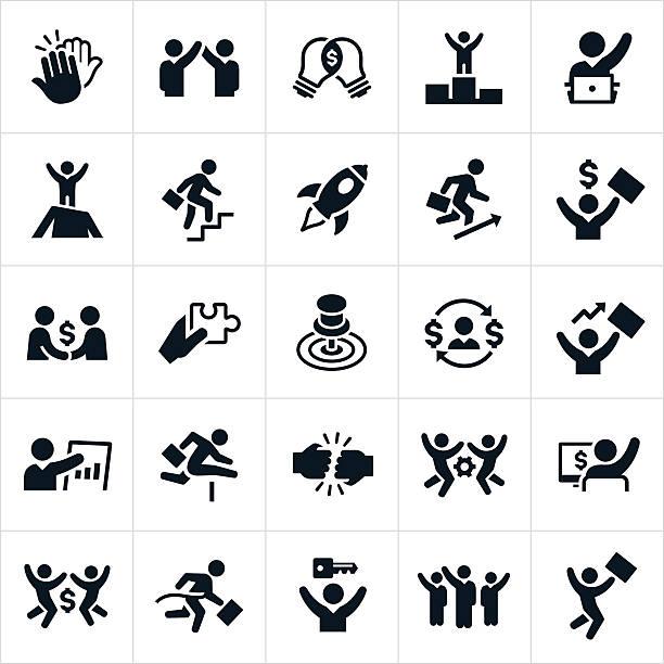 ilustrações, clipart, desenhos animados e ícones de ícones de sucesso empresarial - entrepreneurship