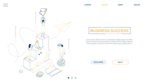 Business success - line design style isometric web banner vector art illustration