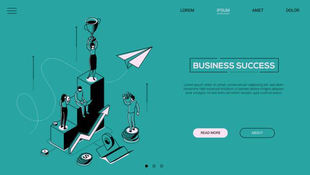 Geschäftserfolg - Line Design Stil isometrischewebsbanner – Vektorgrafik