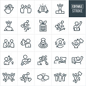 A set of business success icons that include editable strokes or outlines using the EPS vector file. The icons include business people and businessmen celebrating, accomplishing goals, giving high fives, fistbumbs, making deals, earning money, showing graphs indicating growth, winning, having the missing piece to a puzzle, a key representing a solution and other themes.