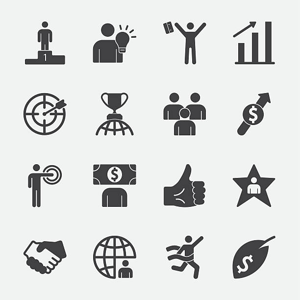Business success vector icon Business success vector icon back lit stock illustrations