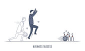 Abstract and symbolic presentation. Business success. Business man playing bowling and strikes. Outline vector illustration.