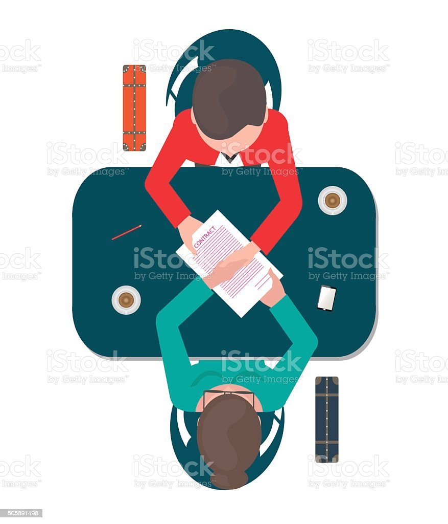 Business successful partnership. vector art illustration