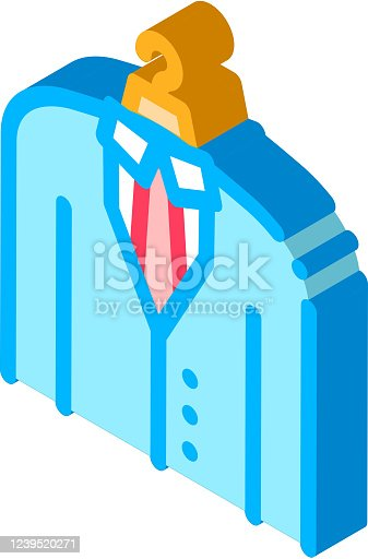Business Suit Costume Job Hunting vector isometric sign. color isolated symbol illustration
