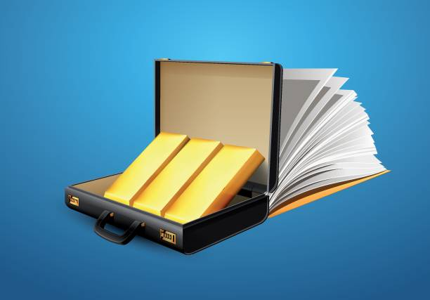 business-koffer voller gold-aktentasche konzept - kanzlerin stock-grafiken, -clipart, -cartoons und -symbole