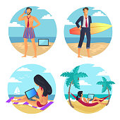 Business summer, people at beach, freelancer woman, working on laptop and lying in hammock, seaside and palms with clear sky, vector illustration