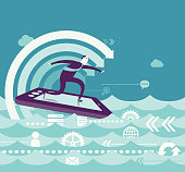 Vector Illustration - Business Surfing