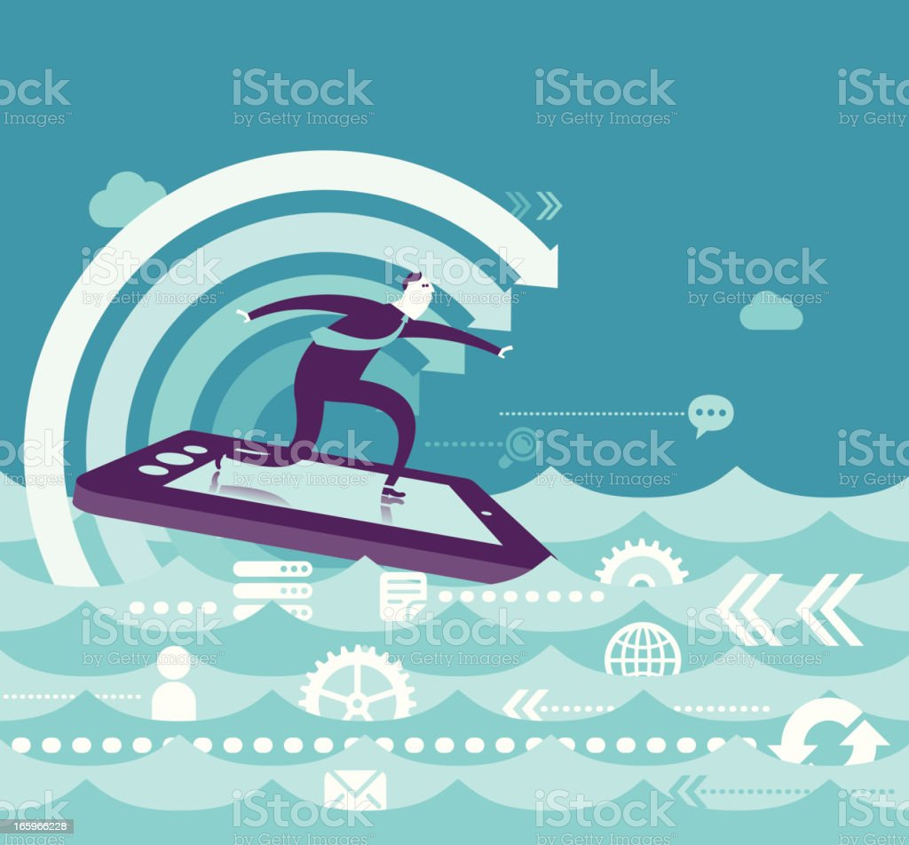 Business Surfing vector art illustration