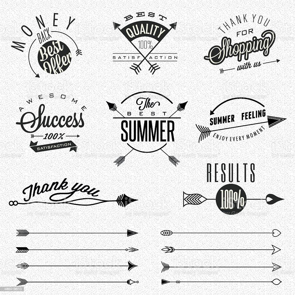 Business symbols and hipster arrows collectionvectorkunst illustratie