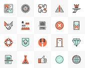 Flat line icons set of business metaphors and market concepts. Unique color flat design pictogram with outline elements. Premium quality vector graphics concept for web, logo, branding, infographics.