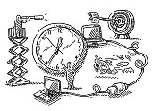 Business Symbols Human Figures Deadline Drawing
