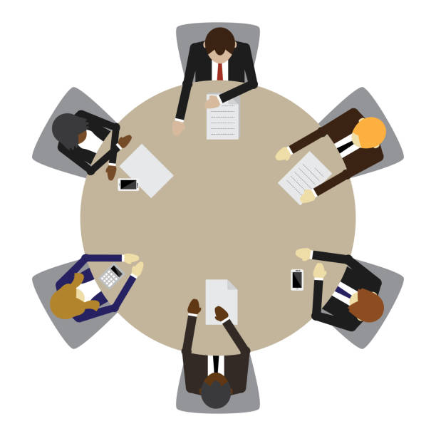 Business table meeting vector art illustration