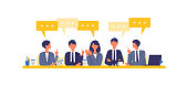 Business talk concept. Vector illustration of talking businessman. Concept for video conference, workers at office. Flat design vector illustration of working people.