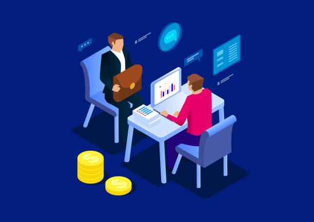 stockillustraties, clipart, cartoons en iconen met business talk - financieel adviseur