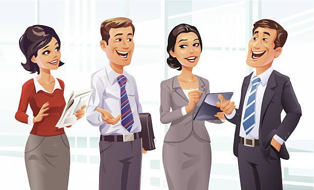 stockillustraties, clipart, cartoons en iconen met business talk - wat