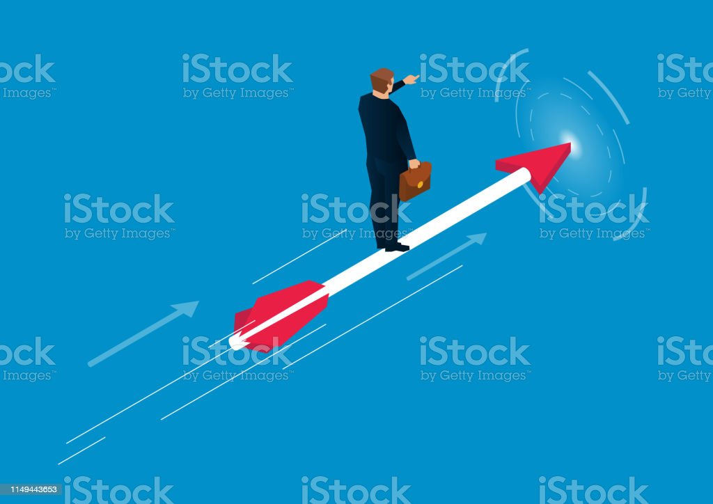Business target concept, businessman standing on arrow flying
