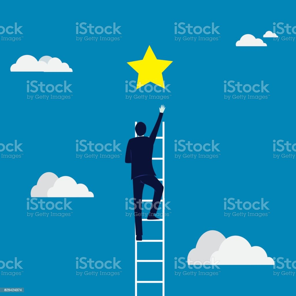 Business Target Concept. Climbing Ladder Reaching Star vector art illustration