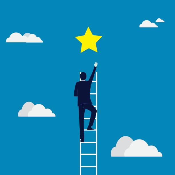 stockillustraties, clipart, cartoons en iconen met target bedrijfsconcept. beklimmen van de ladder bereiken van star - ladder