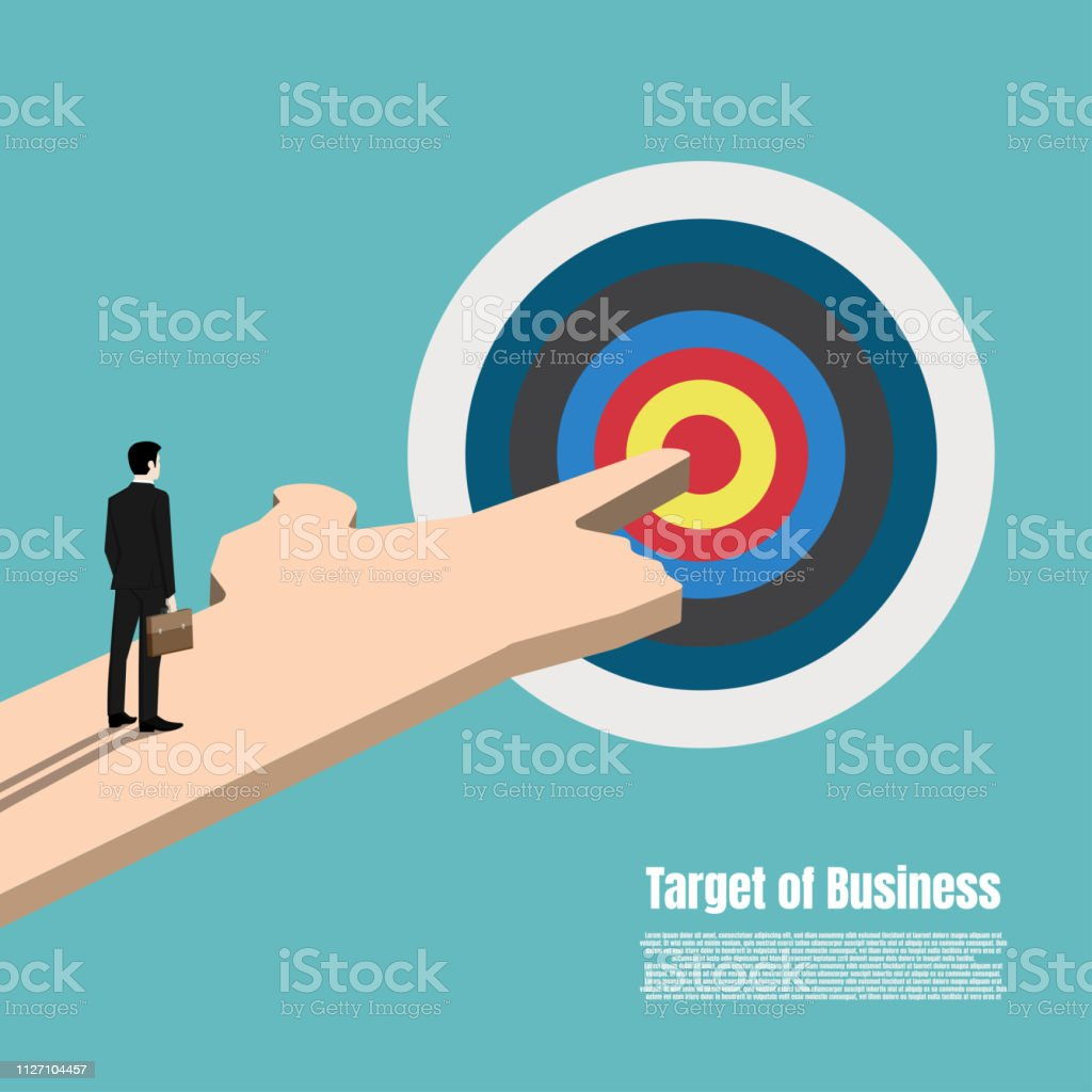 Business target market concept. Standing businessman looking at the...