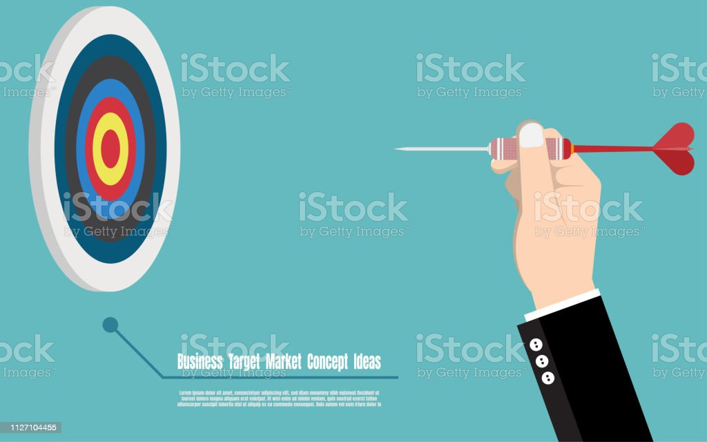 Business target marketing concept. Businessman hand pitch arrow to...
