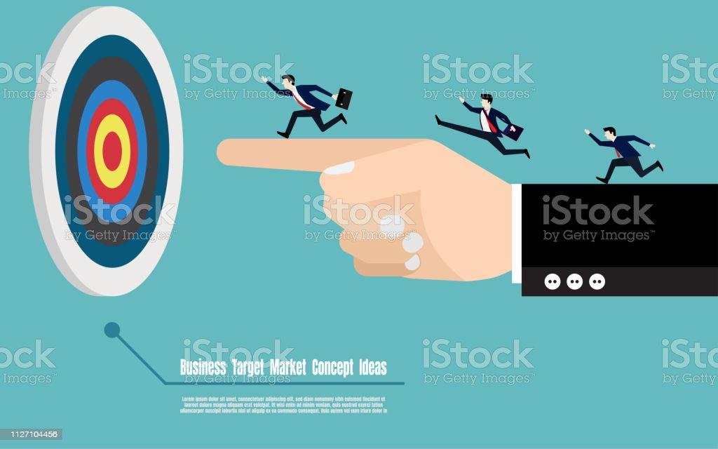 Business target marketing concept. Business man group running on big...