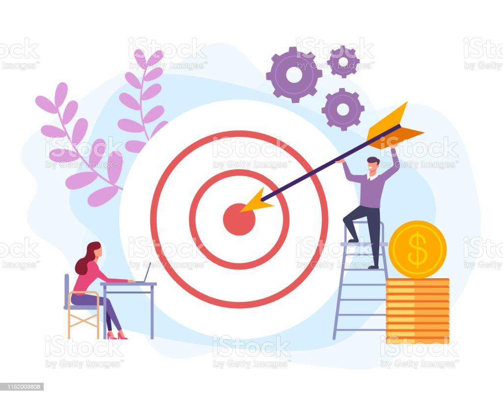 Business target success concept. Vector flat cartoon graphic design...