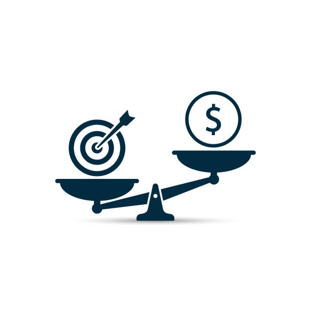 business target vs money on scales illustration. vector business concept - weight scale stock illustrations