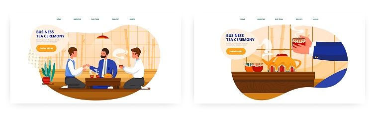 Business tea ceremony landing page design, website banner vector template set. Asian culture, japanese traditions.