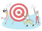 Business team achieving goal. People driving arrow to target, celebrating success. Vector illustration challenge, aim, achievement, focus, purpose, teamwork for concept