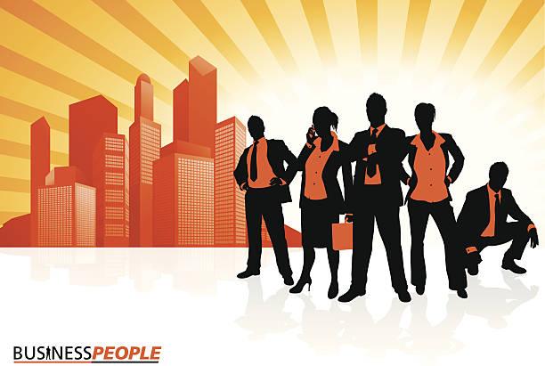 Business Team against City Skyline vector art illustration