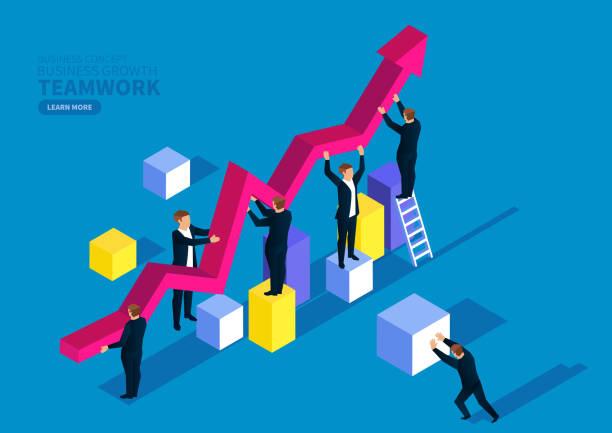 Geschäftsteam und Geschäftswachstum – Vektorgrafik