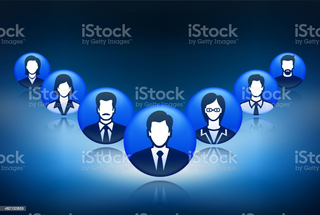 Business Team and Corporate Network Structure royalty-free stock vector art