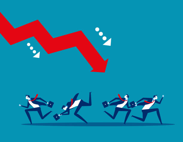 Business team and failure. Concept business vector. Risk, crisis, Problem. Business team and failure. Concept business vector. Risk, crisis, Problem. recession stock illustrations
