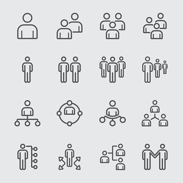 Business team and Organize line icon vector art illustration