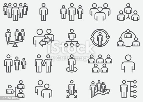 Business Team And Organize Line Icons
