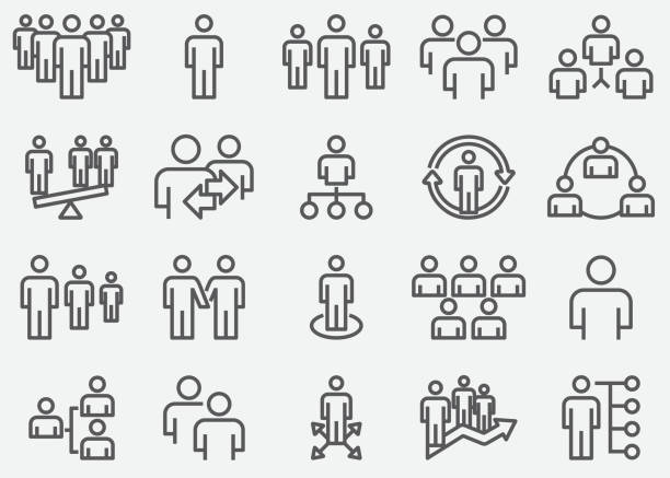 business team and organize line icons - arrow vector icon set stock illustrations, clip art, cartoons, & icons