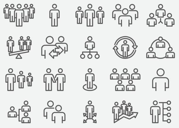 ilustrações, clipart, desenhos animados e ícones de negócios da equipe e organizar ícones de linha - user line icon