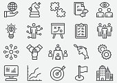 Business Team and Strategy Line Icons