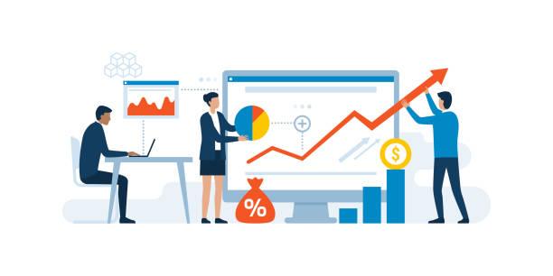 zespół biznesowy i skuteczna strategia finansowa - biznes stock illustrations