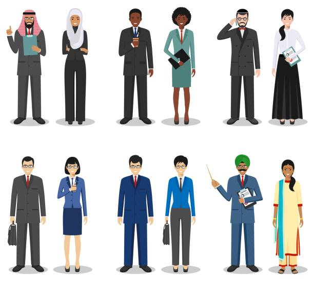 Business team and teamwork concept. Set of detailed illustration of businessmen standing in different positions in flat style on white background. Diverse nationalities and dress styles. Vector illustration. Detailed illustration of diverse business people in different positions in flat style on white background. asian woman stock illustrations