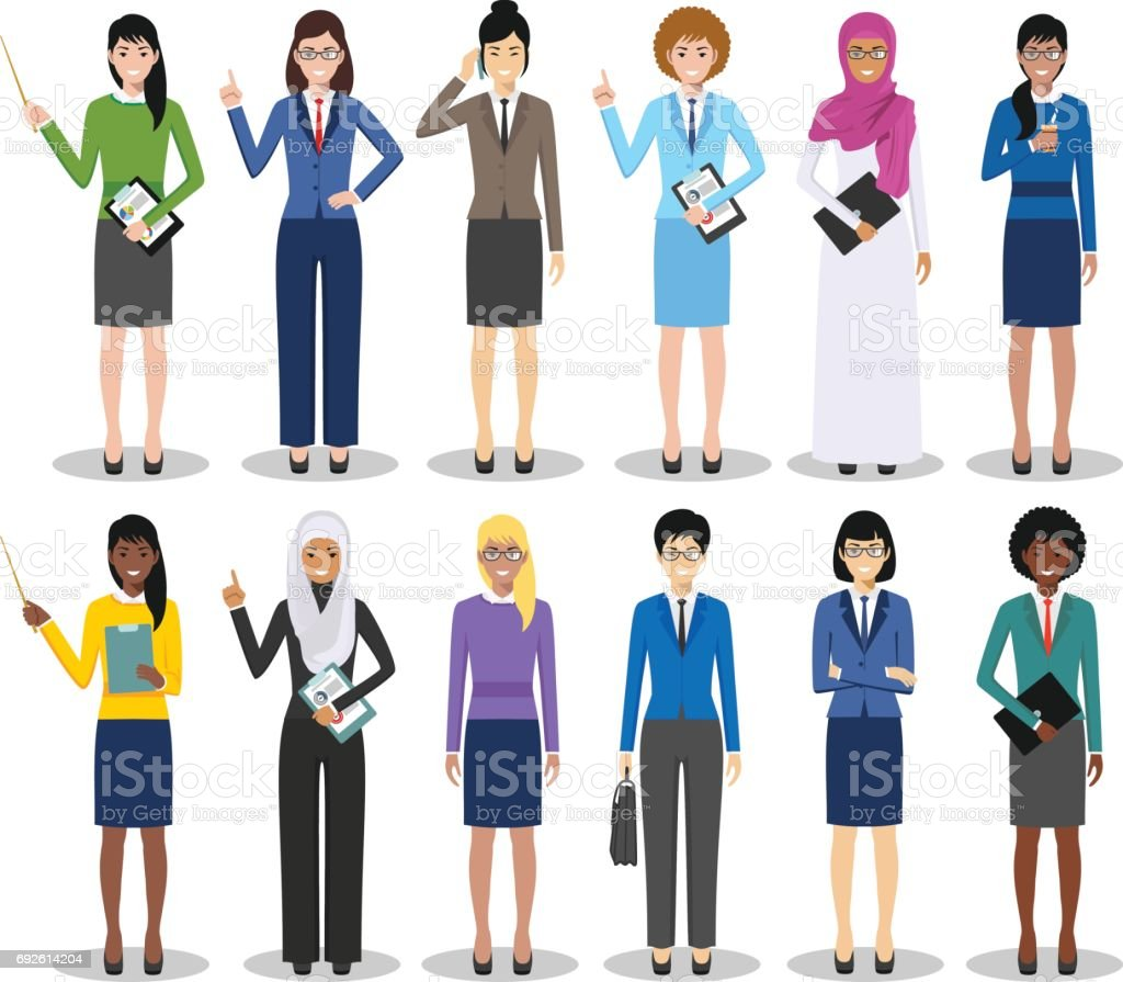 Business team and teamwork concept. Set of detailed illustration of businesswomen standing in different positions in flat style on white background. Diverse nationalities and dress styles. Vector illustration vector art illustration
