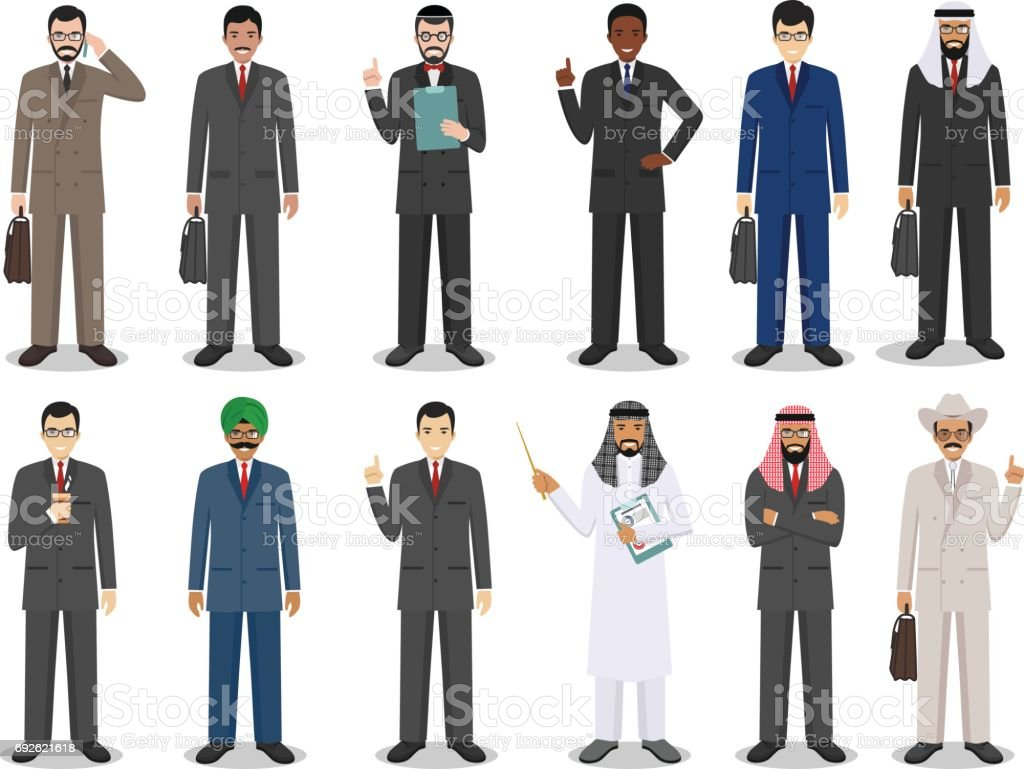 Business team and teamwork concept. Set of detailed illustration of businessmen standing in different positions in flat style on white background. Diverse nationalities and dress styles. Vector illustration vector art illustration